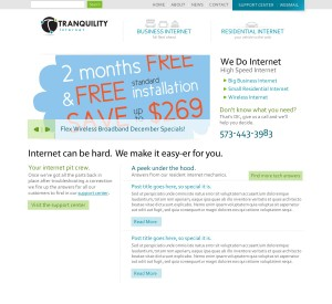 New Tranquility Internet Website Design